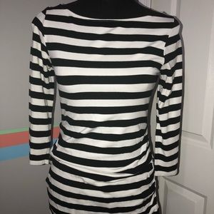 Black and white striped maternity top